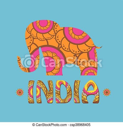 Couleur, Indien, Pattern., Vecteur, Éléphant. Vecteur,  Clipart