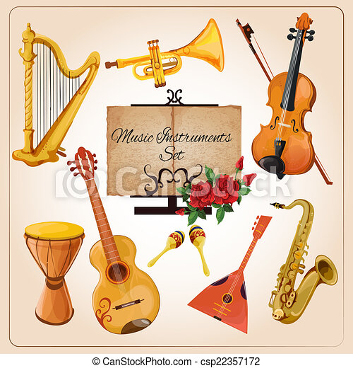 Gut gemocht Vecteurs illustration de couleur, instruments, musique - croquis  CG03