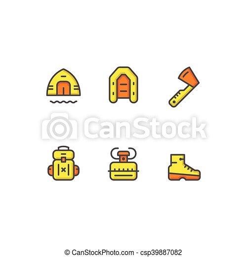 couleur, ligne, ensemble, camping, icônes - csp39887082