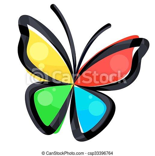 clipart vecteur de couleur logo butterfly couleur
