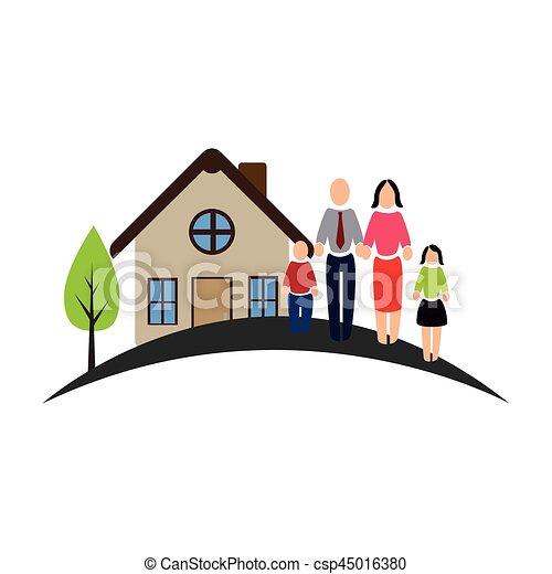 Couleur Maison Famille Pictogramme Famille Pictogramme Couleur Maison Illustration Vecteur Canstock