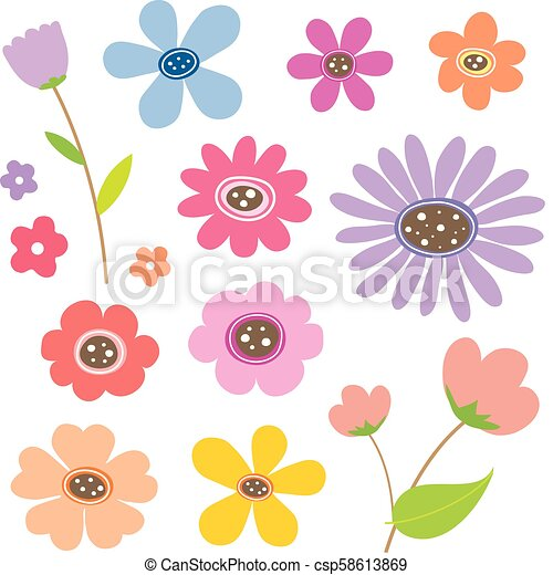 Couleur Mignon Fleur Dessin Animé Vecteur