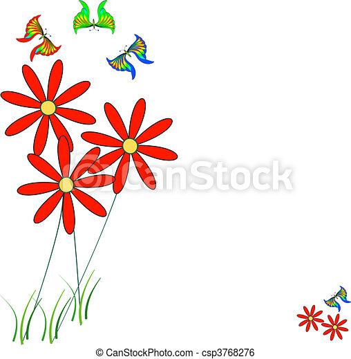 Couleur Multi Fleur Papillons