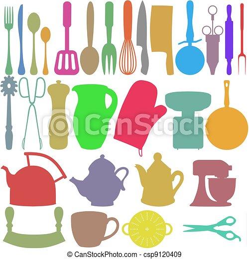 couleur objets cuisine ustensiles silhouettes objets illustration de stock rechercher. Black Bedroom Furniture Sets. Home Design Ideas