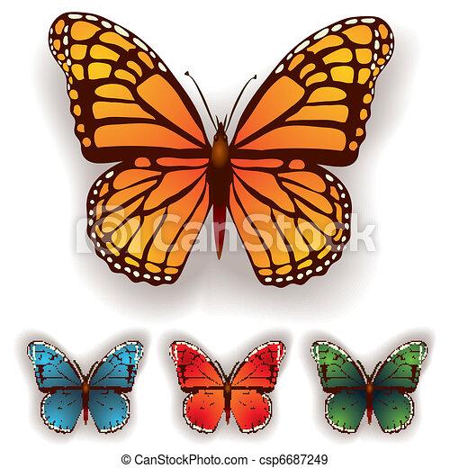 Couleur papillon blanc isol fond - Papillon dessin couleur ...