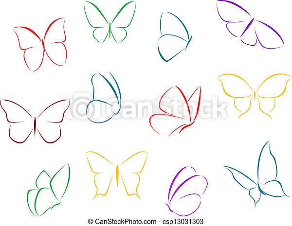 Couleur papillons silhouettes concept fragilit clipart vectoriel rechercher - Papillon dessin couleur ...