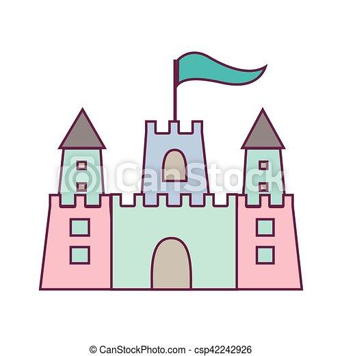couleur, pastel, sandcastle, drapeau, icône - csp42242926