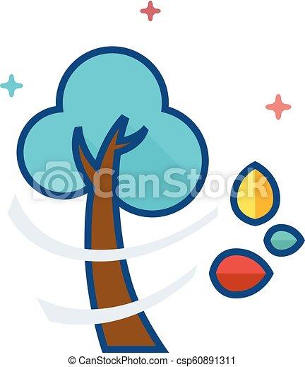 couleur, plat, -, arbre, icône - csp60891311