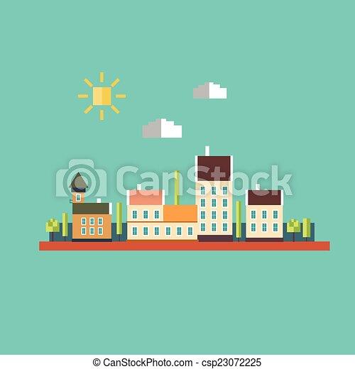 couleur, plat, contours, paysage, urbain - csp23072225