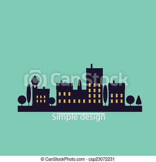 couleur, plat, contours, paysage, urbain - csp23072231