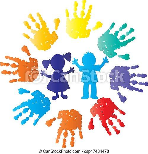 Couleur silhouette enfants mains - Dessin main enfant ...