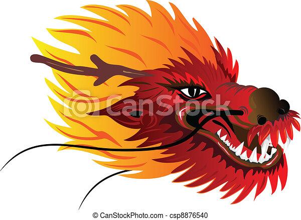 Couleur Tete Dragon Tete Vecteur Asiatique Image Dragon Canstock