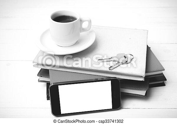 Couleur Tasse Cafe Telephone Livre Noir Blanc Pile