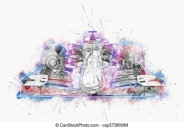 couleur, voiture, encre, -, illustration, une, eau, numérique, formule - csp37380084