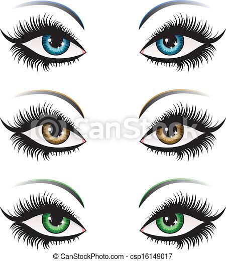 couleur, yeux, femme, différent - csp16149017