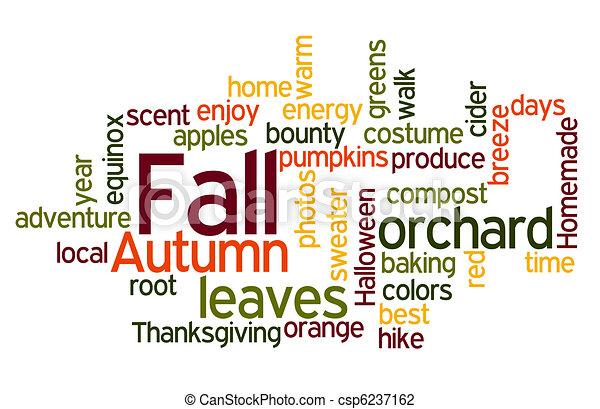 couleurs, wordcloud, automne - csp6237162