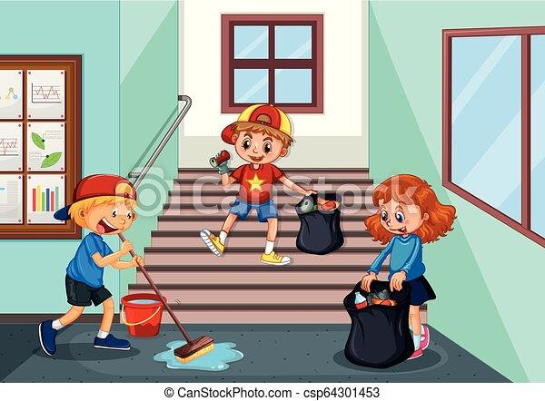 couloir, écoliers, nettoyage - csp64301453