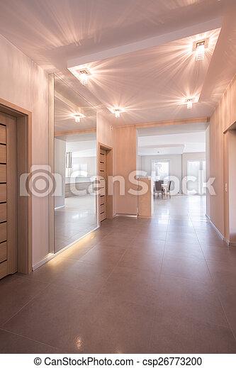 Couloir, appartement, moderne. Couloir, appartement, éclairé ...