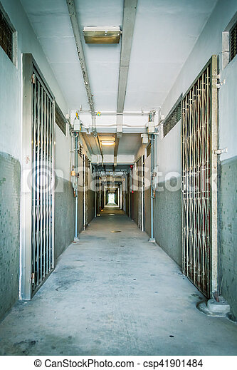 couloir, appartement, vieux, résidentiel