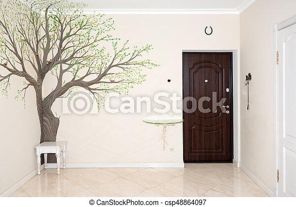 Couloir, entrée, maison, wall., interior., dessin. Couloir ...