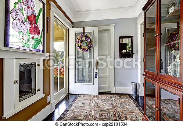 Couloir, entrée, vieux, maison, américain, intérieur.... photos de ...