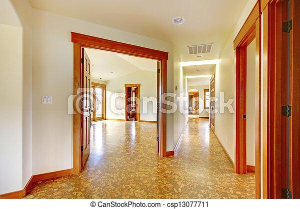 Couloir, house., nouveau, grand, luxe, interior., maison ...