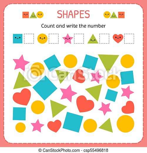 Count And Write The Number Learn Shapes And Geometric Figures