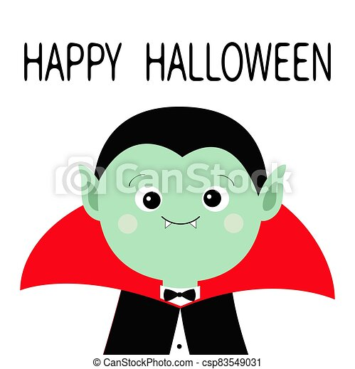 Count Dracula headwearing black and red cape. Cute cartoon vampire character. Green face with fangs. Happy Halloween. Greeting card. Flat design. White background. Isolated. - csp83549031