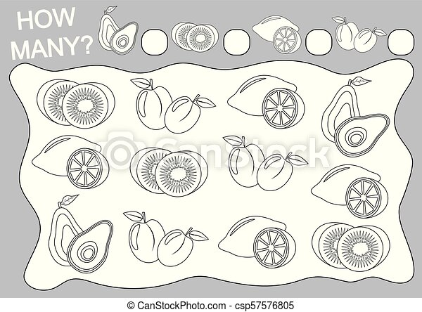 Count how many fruits and color them (coloring book). Educational game for preschool children. Vector illustration. - csp57576805