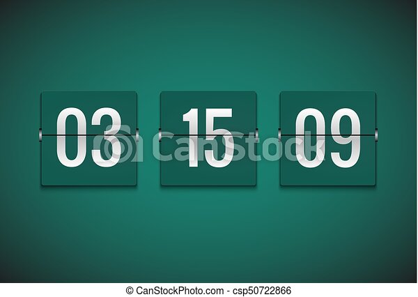 Countdown timer clock counter. flip vector timer template. display ...