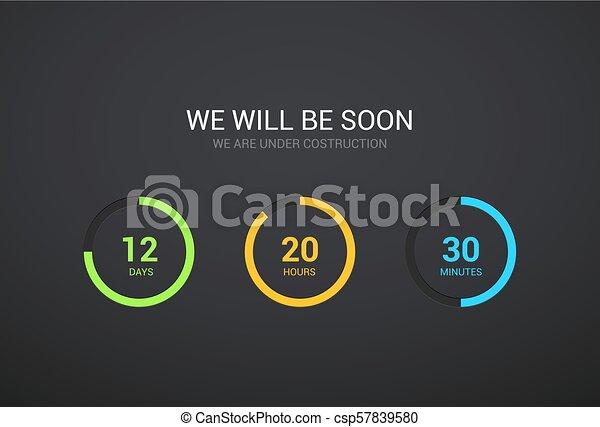 Countdown Timer Design For Website Clock Timer Design On Dark Background Coming Soon App Modern Flat Counter Canstock