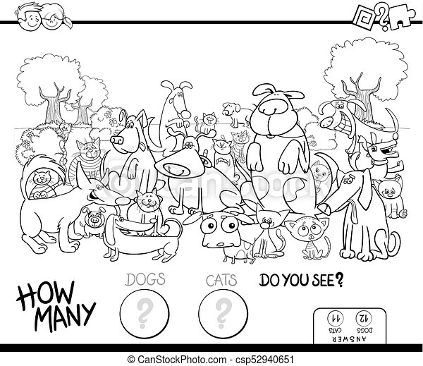 Counting cats and dogs coloring book. Black and white... clipart ...