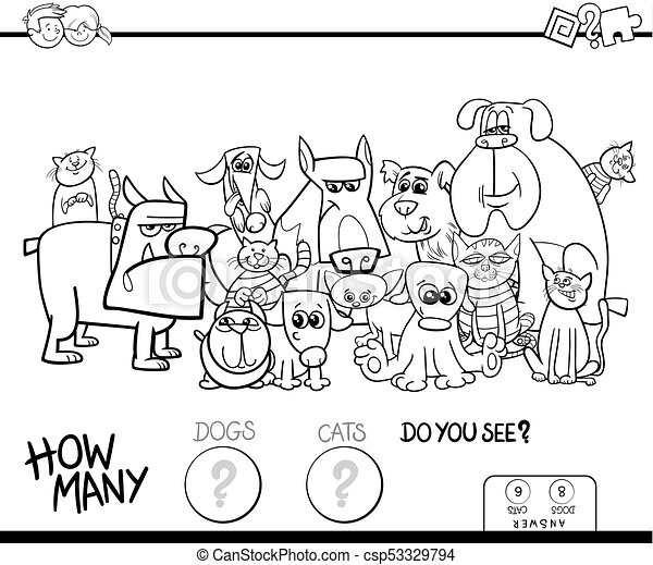 Counting cats and dogs game color book. Black and white cartoon ...