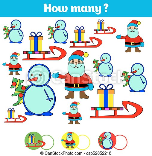 Counting educational children game, kids activity sheet. How many objects task. Learning mathematics, numbers. Vector illustration - csp52852218