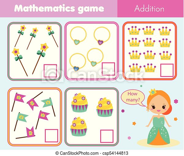Counting educational children game, math kids activity. how ...