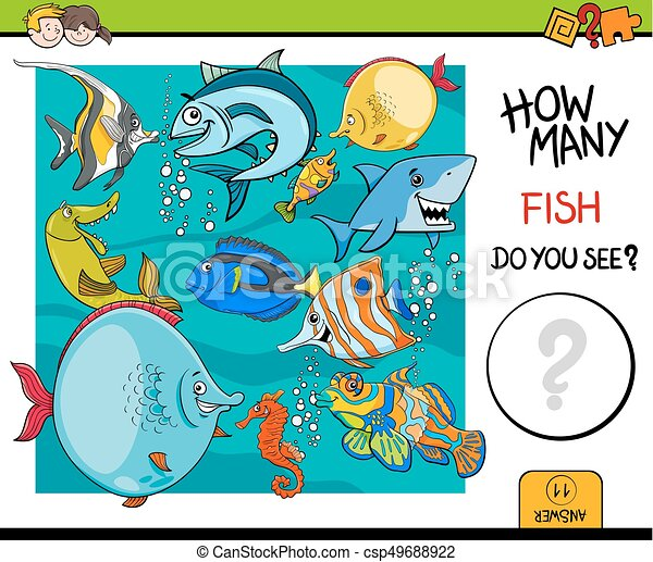 counting fish educational activity game cartoon illustration of educational counting activity. Black Bedroom Furniture Sets. Home Design Ideas