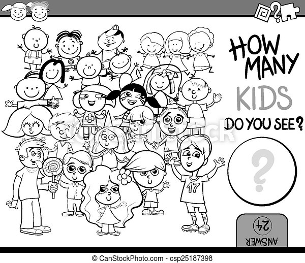 counting game cartoon coloring page - csp25187398