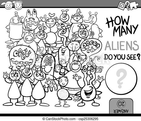 counting game cartoon coloring page - csp25306295