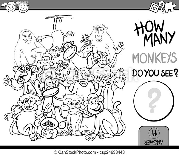 counting game cartoon coloring page - csp24633443