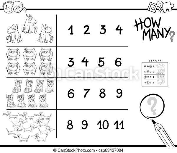 counting game with dogs for coloring - csp63427004