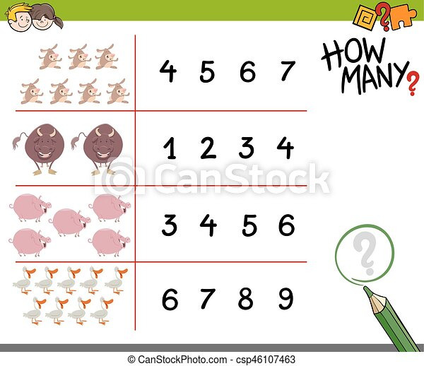 counting game with farm animals - csp46107463