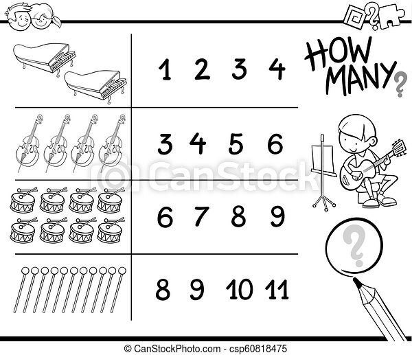 counting game with tools and objects for coloring - csp60818475