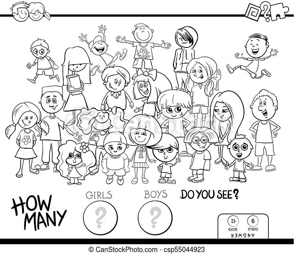 counting girls and boys activity coloring book - csp55044923