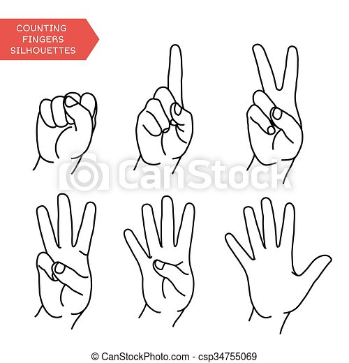 counting hands set counting hands showing different number of
