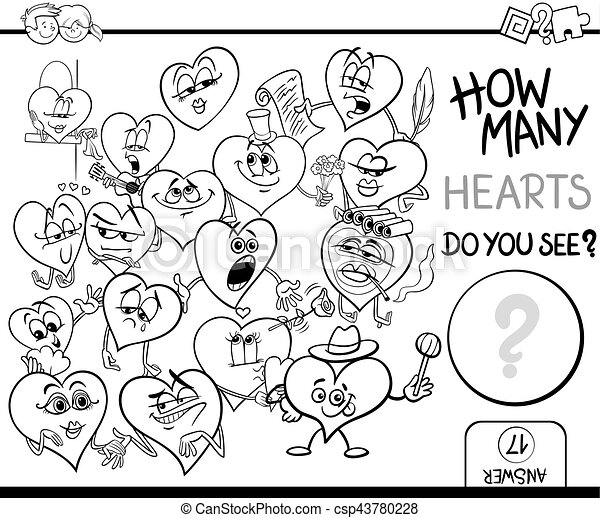 counting hearts coloring page - csp43780228