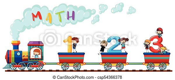 Counting numbers on train with happy children - csp54366378