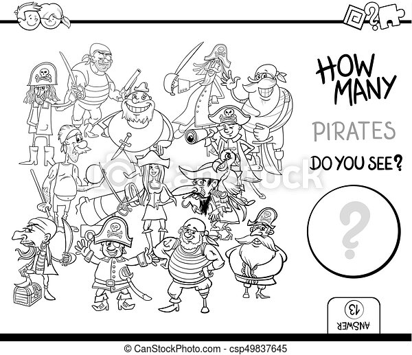 counting pirates coloring page activity - csp49837645
