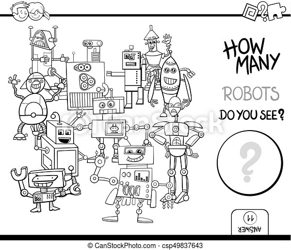 counting robots coloring page activity - csp49837643