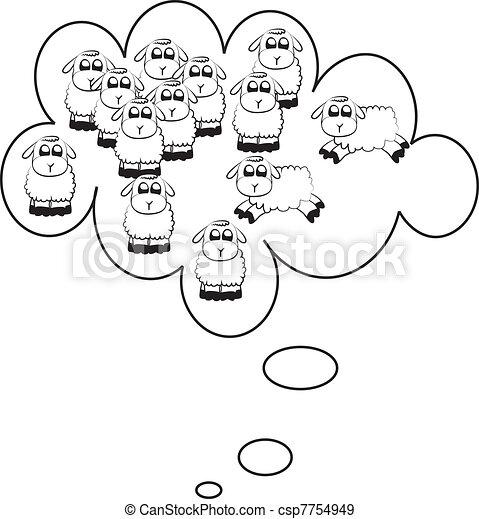 Counting sheep illustration - csp7754949