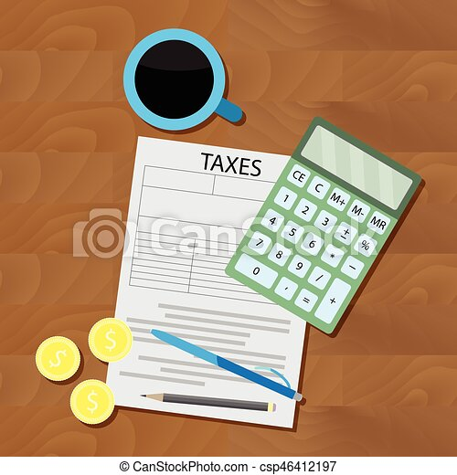 Counting taxes flat vector - csp46412197